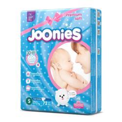 Подгузники на липучках JOONIES размер S вес 4-8 кг, 64 шт