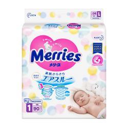 Подгузники на липучках Merries для новорожденных NB 90 шт с рождения до 5кг