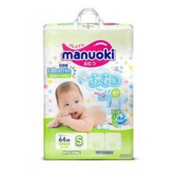 Подгузники Manuoki S (3-6кг) 64 шт
